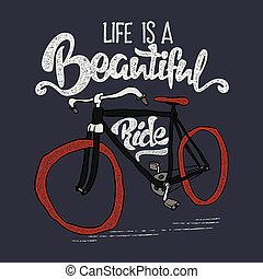 Hand drawn hipster t-shirt. Retro vintage bicycle and lettering