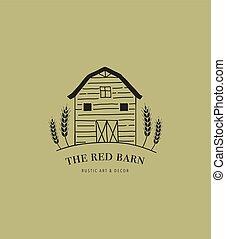 Hand drawn home, farm and barn logo, icon. Vector...
