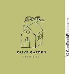 Hand drawn home, house with garden logo, icon. Vector...
