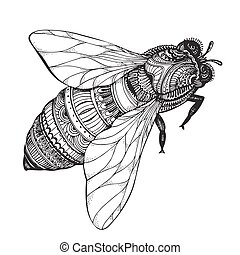 Hand drawn honey bee in zentangle style. Black and white...