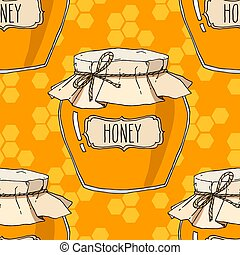 Hand drawn honey jars seamless pattern