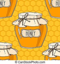 Hand drawn honey jars seamless pattern