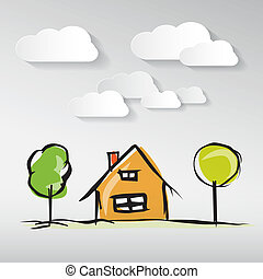 Hand Drawn House Illustration with Paper Clouds and Trees