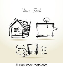 Hand drawn House plan sketch project for your design and presentations