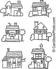 Hand drawn house vector set