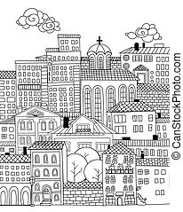 Doodle town - Hand drawn houses and buildings. Doodle town ...
