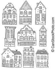 Hand Drawn Houses Monochrome Set