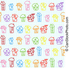 Hand Drawn Houses. Seamless Pattern. Childish. Vector Illustration.
