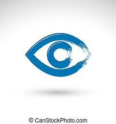 Hand drawn human eye icon, brush drawing blue medicine sign, ori