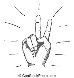 Hand drawn human . Sign of peace.