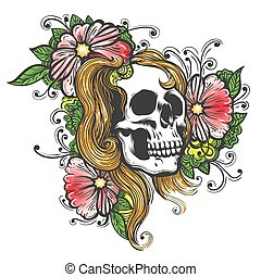 Hand Drawn Human Skull with Flowers Tattoo