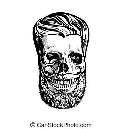 Hand drawn human skull with hipster hairdo, beard and...