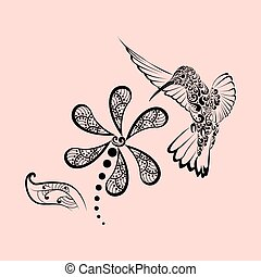 Hand drawn, Hummingbird in hibiscus for adult anti stress coloring pages, t-shirt print. Boho, bohemian style. Isolated illustration in doodle, henna tattoo design.