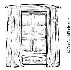Hand drawn hurtains. Windows sketch