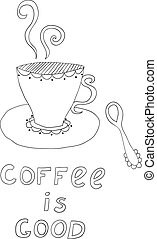 hand-drawn icon of doodle coffee cup