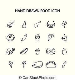 Hand drawn icon set. Food pack.