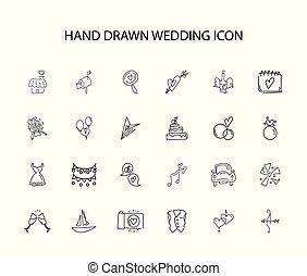Hand drawn icon set. Wedding pack.