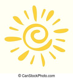 Hand drawn icon Sun isolated on a white background.