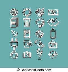 Hand drawn icons. concept business web media seo marketing engine optimization site.