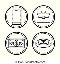 Hand drawn icons.