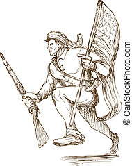 hand drawn illustraion of a daniel boone american revolutionary carrying flag of united states of america