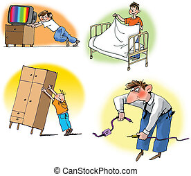 Hand drawn illustration about Different household chores. On white background