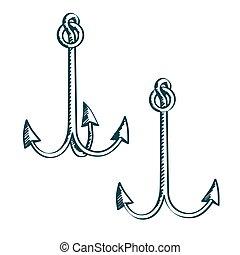 Hand drawn illustration anchors