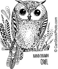 Hand drawn illustration bird. Art Coloring book owl