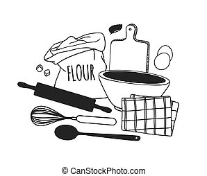 Hand drawn illustration cooking tools, dishes and food....