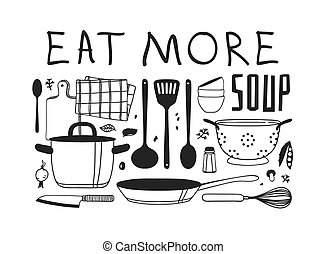 Hand drawn illustration cooking tools, dishes, food and...