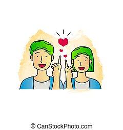 Hand drawn illustration couple green hair vector design