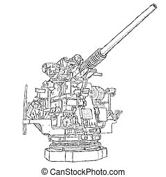 vintage gun - hand drawn illustration of a 50-caliber ...