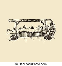 Hand drawn illustration of a farm gate view.