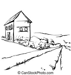 Hand drawn illustration of a fields and house