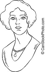 Hand drawn illustration of a retro woman with necklace