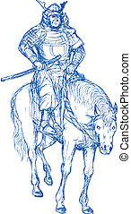 Samurai warrior riding horse with sword - hand drawn ...