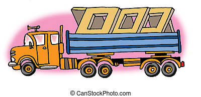 Hand drawn illustration of a truck. On white background.