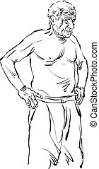 Hand drawn illustration of an old man, vector black and white drawing.
