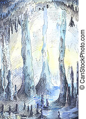 Hand-drawn illustration of cave in blue colours. Watercolor stalactites, fantastic sketch.