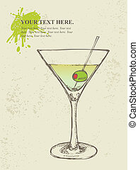 Hand drawn illustration of cocktail - Hand drawn...
