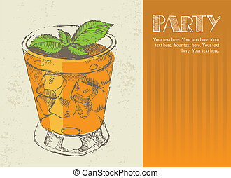 Hand drawn illustration of cocktail