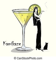 Hand drawn illustration of cocktail with girl. Kamikaze....