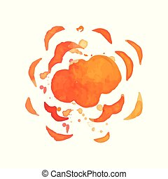 Hand drawn illustration of explosion effect. Colorful burst....