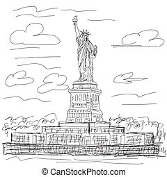 statue of liberty - hand drawn illustration of famous...