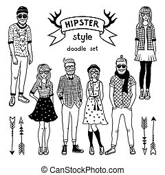 Hand drawn illustration of funky fashioned hipsters characters. Happy male and female. Vector monochrome pictures
