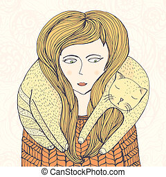 Hand drawn illustration of girl and