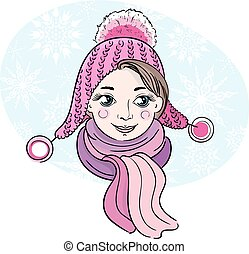 Hand-drawn illustration of happy little girl