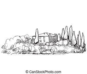 Hand drawn illustration of house on hill