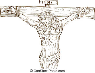Jesus Christ hanging on the cross isolated on white