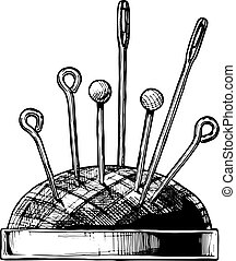 Vector black-and-white hand drawn illustration of pincushion in vintage engraved style. isolated on white background. Side view.